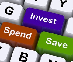 Save Spend Invest Keys Show Financial Choices