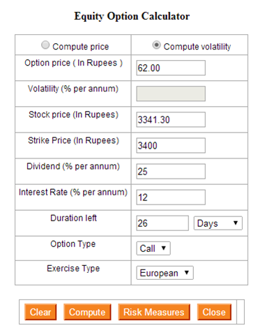 Options trading calculator